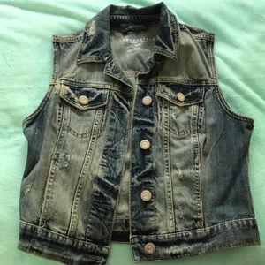 Aeropostale Distressed Denim Vest